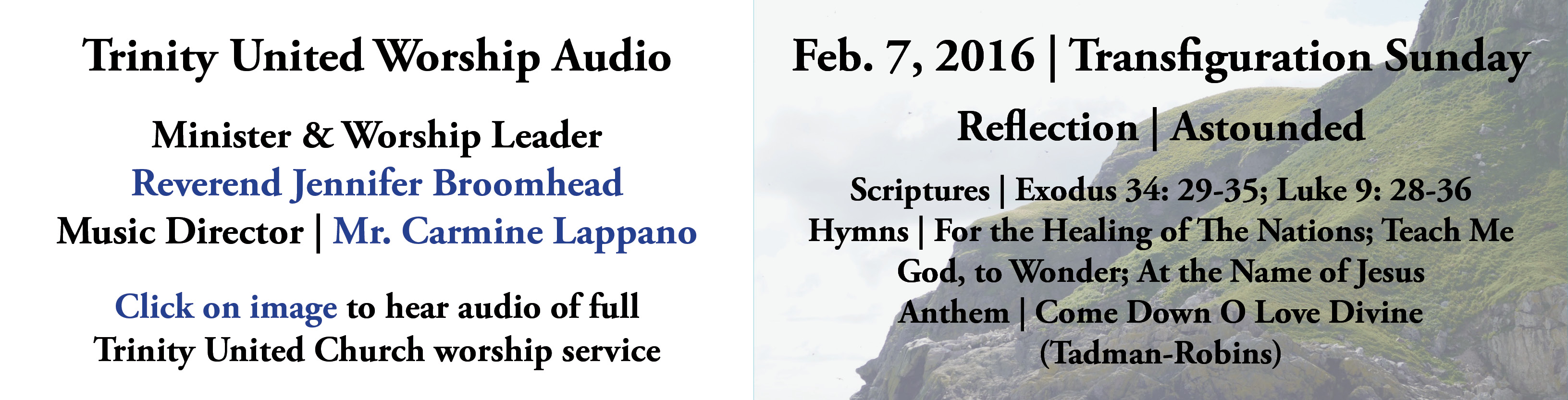 Trinity United Worship Audio |February 7, 2016 | Transfiguration Sunday