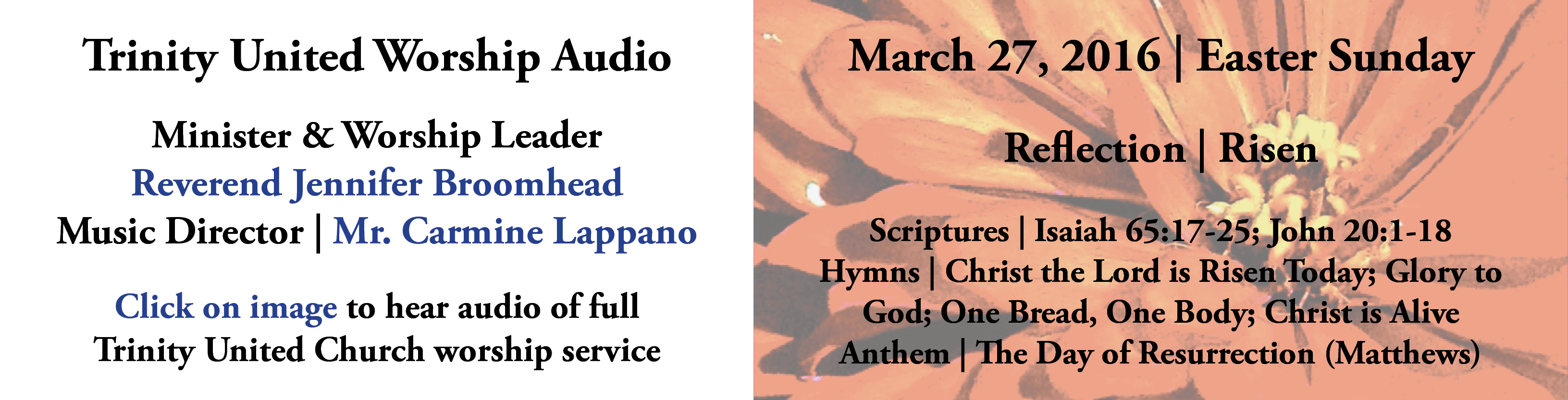 Trinity United Worship Audio | March 27, 2016 | Easter Sunday